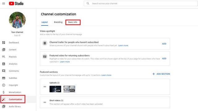 تغییر نام کانال یوتیوب در دسکتاپ