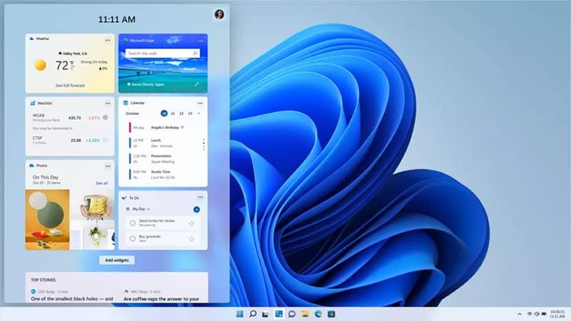 قابلیت Windows Widgets