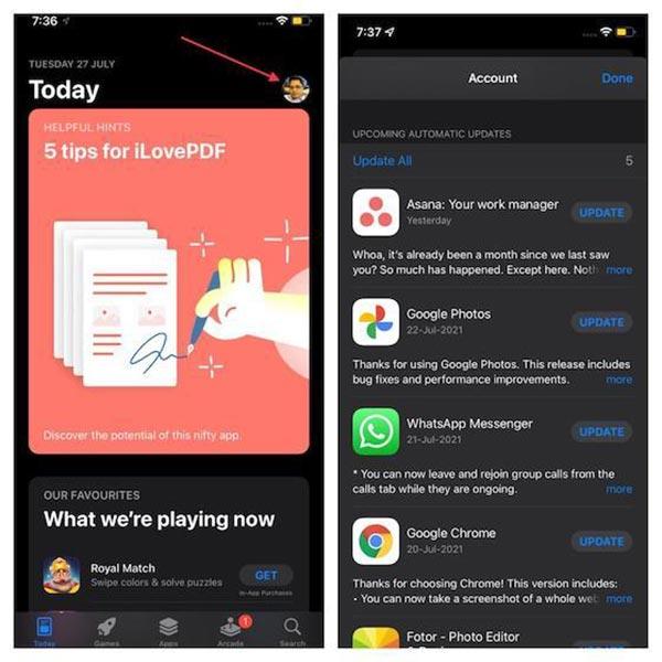 برنامه ها را برای رفع خالی شدن باتری iOS 15 به روز کنید